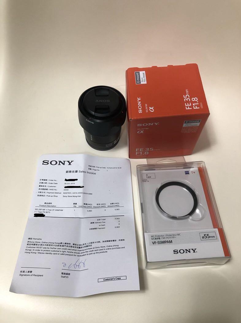 2019 年出 Sony FE 35mm F1.8 100%新