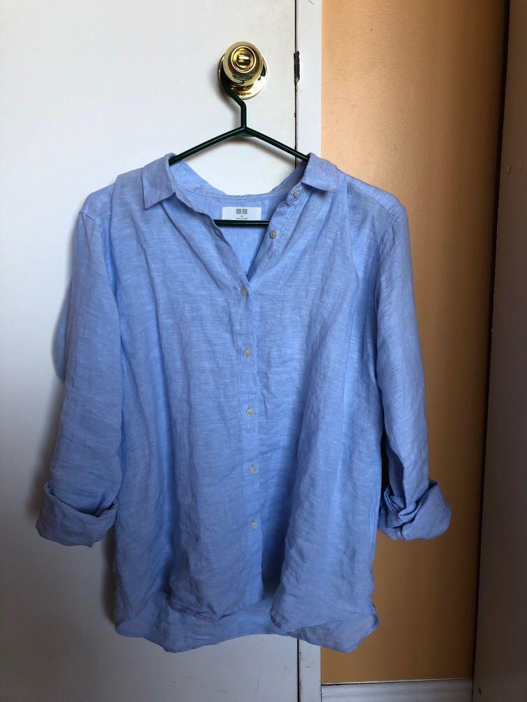 Uniqlo premium classic baby blue women's button down shirt