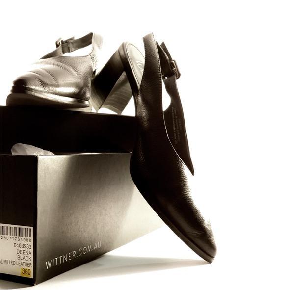 Wittner Black Patent Pointed Toe Sling back Mid Heels