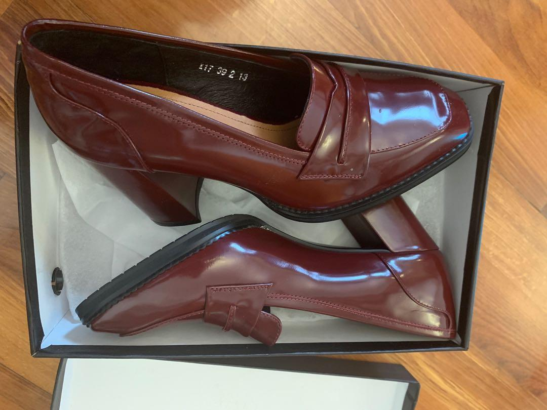 Woman shoes loafers dark red 39 new leather patent 全新漆皮女裝鞋