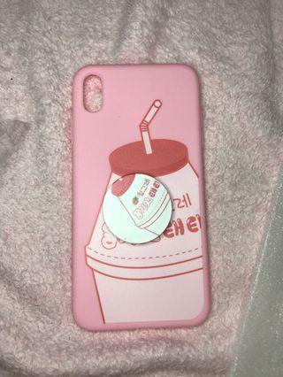Soft case iphone xsmax pink strawberry milk