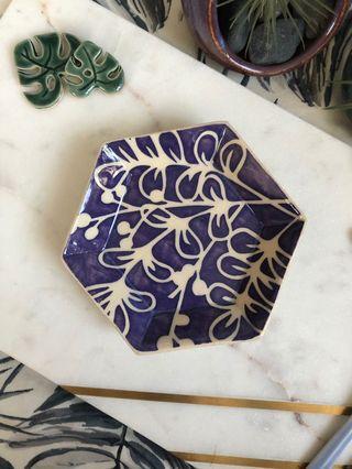 🚚 Handmade Hexagon Dish (small), watercolour floral design in purple