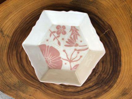Handmade porcelain Hexagon Dish/plate (small), carved floral design in pink