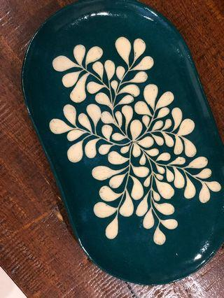 Handmade Ceramic Oval Plate/platter (med), carved sgraffito drops design (dark green)