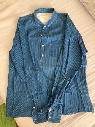 男休閒亞麻長袖上衣(寶藍)