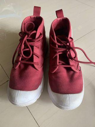 Palladium 高筒帆布鞋 紅色