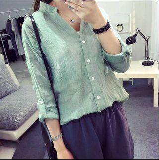 青蘋綠棉麻襯衫