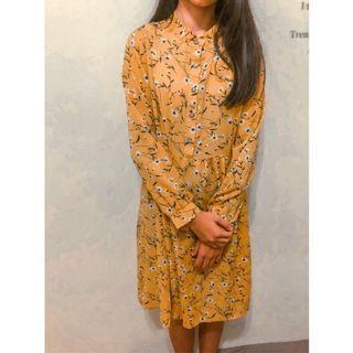 韓系春夏款黃色修身長袖碎花洋裝 二手衣