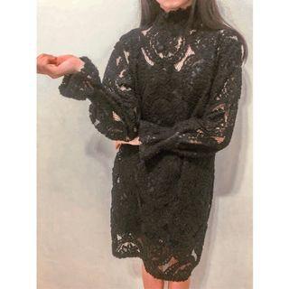 黑色兩件式連身裙洋裝 附黑色背心 二手衣