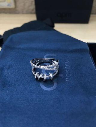 APM Monaco純銀鑲金鑽戒指