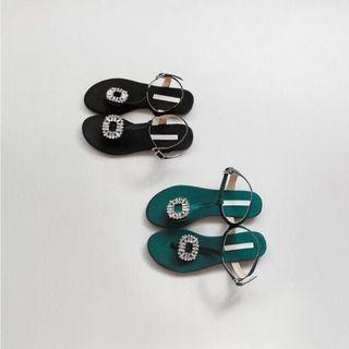 轉賣 全新 方鑽 黑色 涼鞋 韓貨 700元(含運)