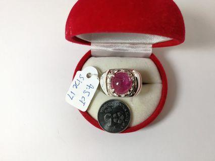 Cincin Perak Ruby / Delima Africa