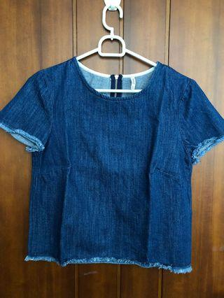 Denim Crop Top Stradivarius