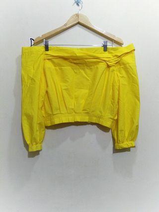 Zara,  sabrina yellow crop top