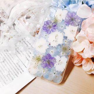 《預購》蘋果手機-純手工真花打造紫色夢幻乾燥花手機殼