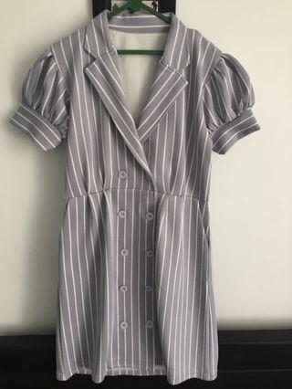 Striped Dress - gray