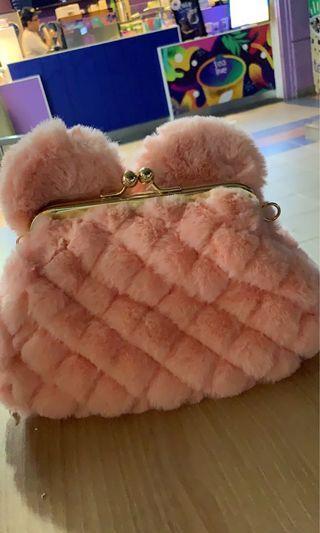 Furry fluffy sling bag