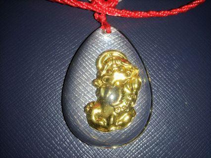 💯正瑤池金母開光💯水晶內鑲嵌金泊貔貅項鍊💯