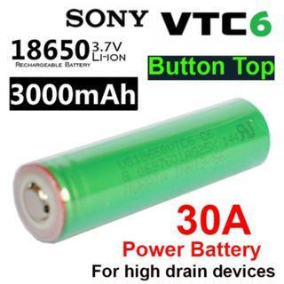 Sony Murata VTC6 Button Top 3000mAh 30A Li-ion 18650 Battery