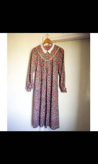 古著雪紡長袖洋裝