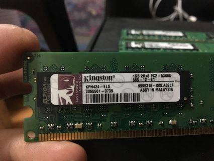KINGSTON 1GB 2Rx8 PC2 5300U