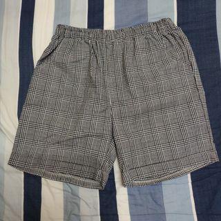 千鳥格 格紋 西裝 短褲 正裝 鬆緊 休閒褲