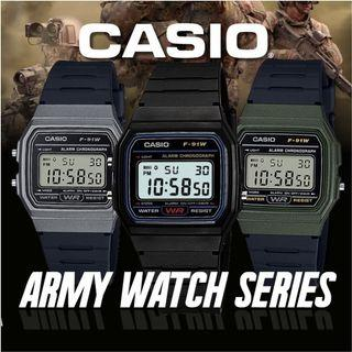 *100% Authentic* Casio Digital Army Watch F91W Series. Includes 1 Year