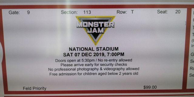 7 Dec Monster Jam VIP Zone tickets for Adult and Kid