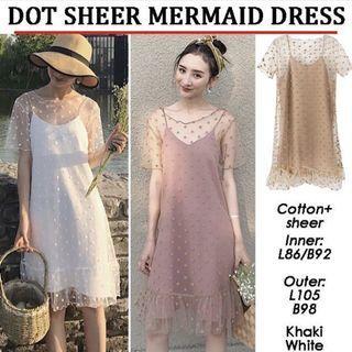 Khaki Sheer dress