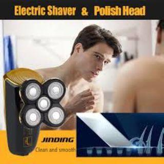 JINDING Electric Shaver Men Head Polish Hair Trimmer Rechargeable 3D Floating Five-blade Razor