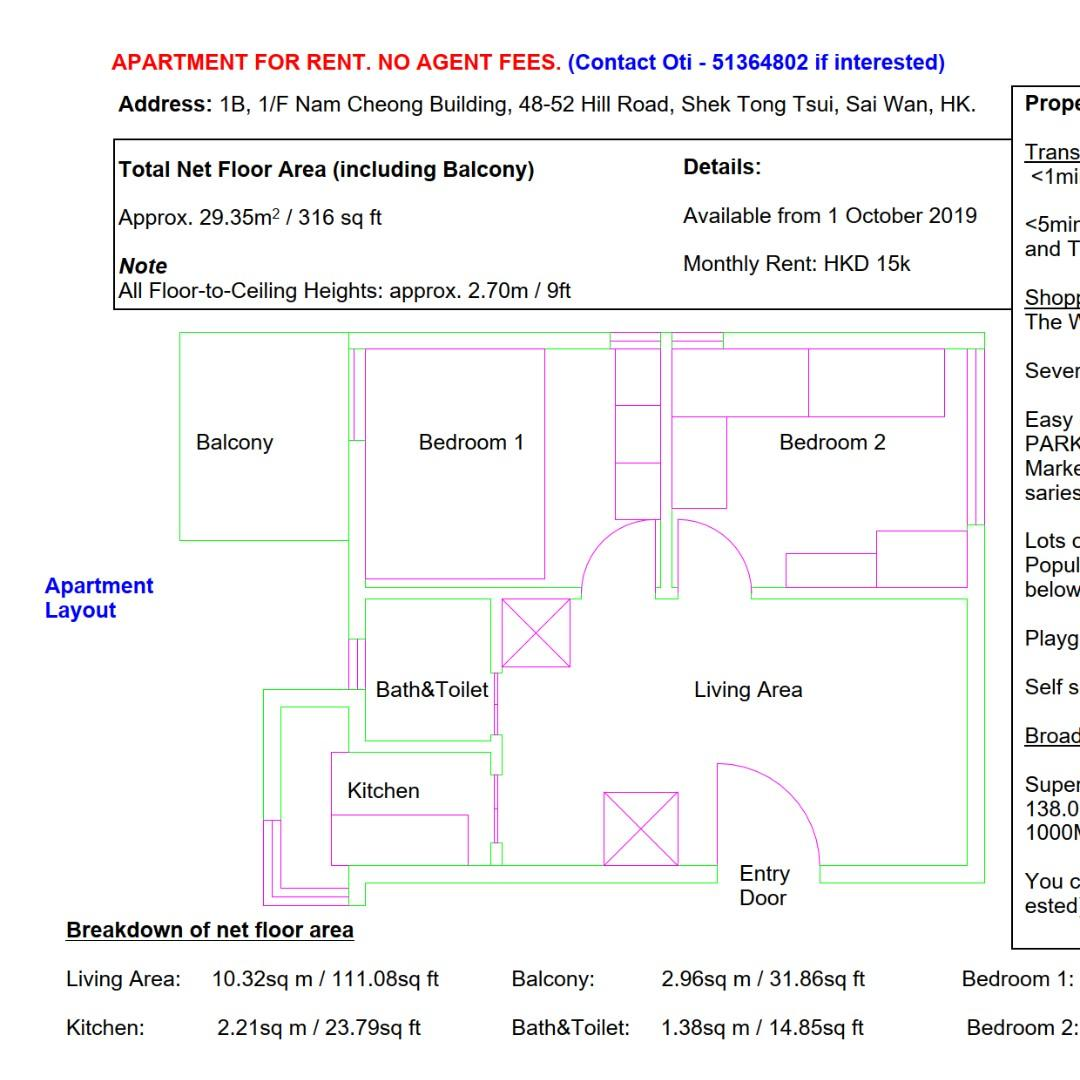 2-Bedroom Apartment near HKU MTR for rent. No Agent Fees.