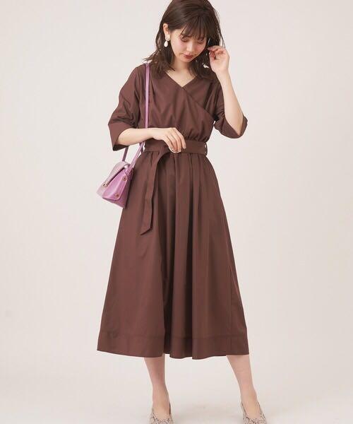 2way可兩穿👗日系包裏式V領方領連身裙op Japan two way wrap dress v neck square neck dress one-piece op brown dress black dress  lilac dress