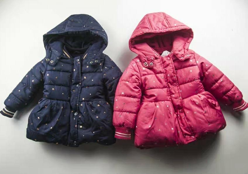 (2Y-10Y)  NAUTICA 出口歐洲 女童嬰兒BB 深藍色/深粉紅色 星星夾棉毛裡長袖大褸外套 全新優惠