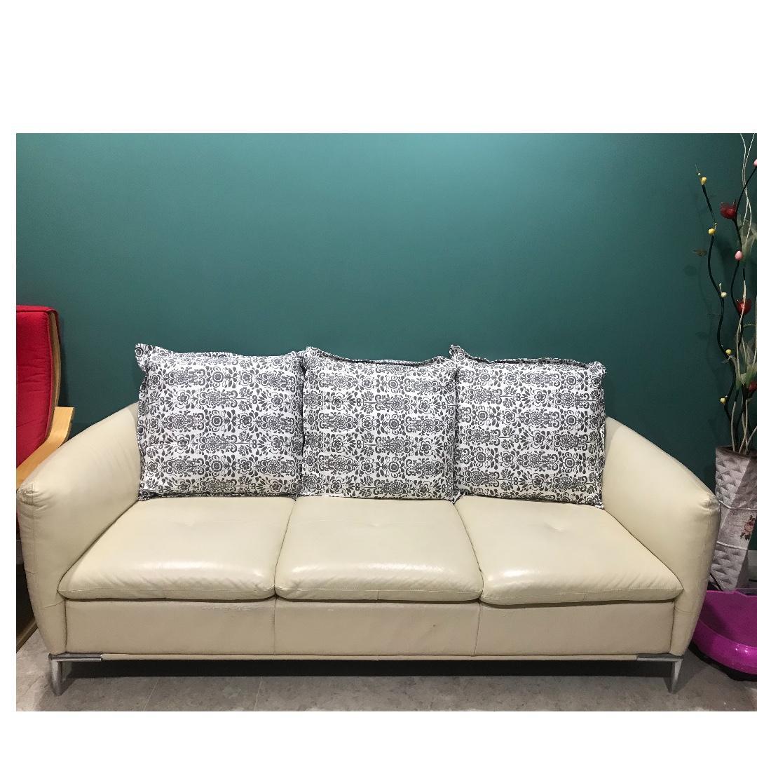 3 seats leather sofa with fabric cushion, Furniture, Sofas ...