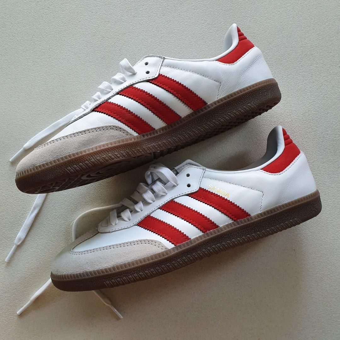 Adidas Samba Sneakers (Red), Men's Fashion, Footwear