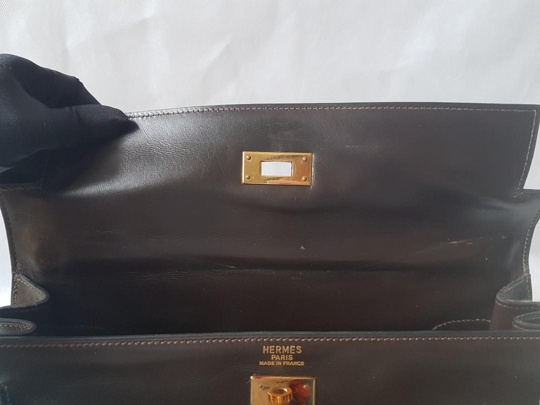 Authentic Hermès Kelly 32 Chocolate Brown Box Gold plated Bag