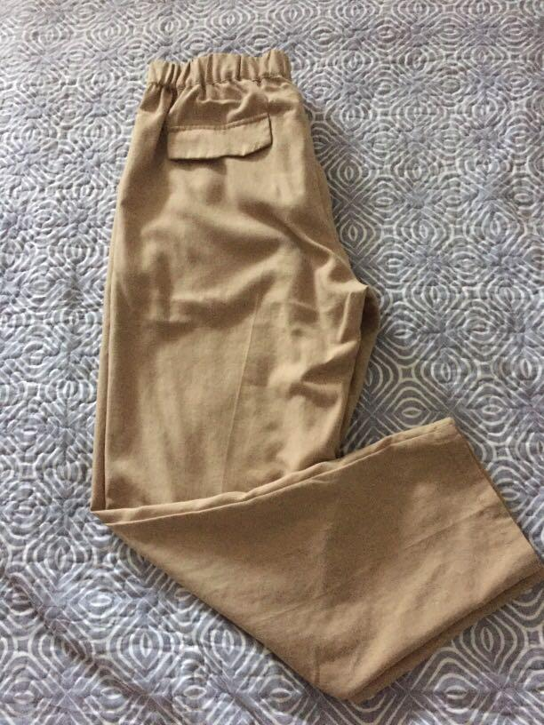 Beige pencil pants cotton/linen blend from Harajuku, Japan  Size: small; Very high quality