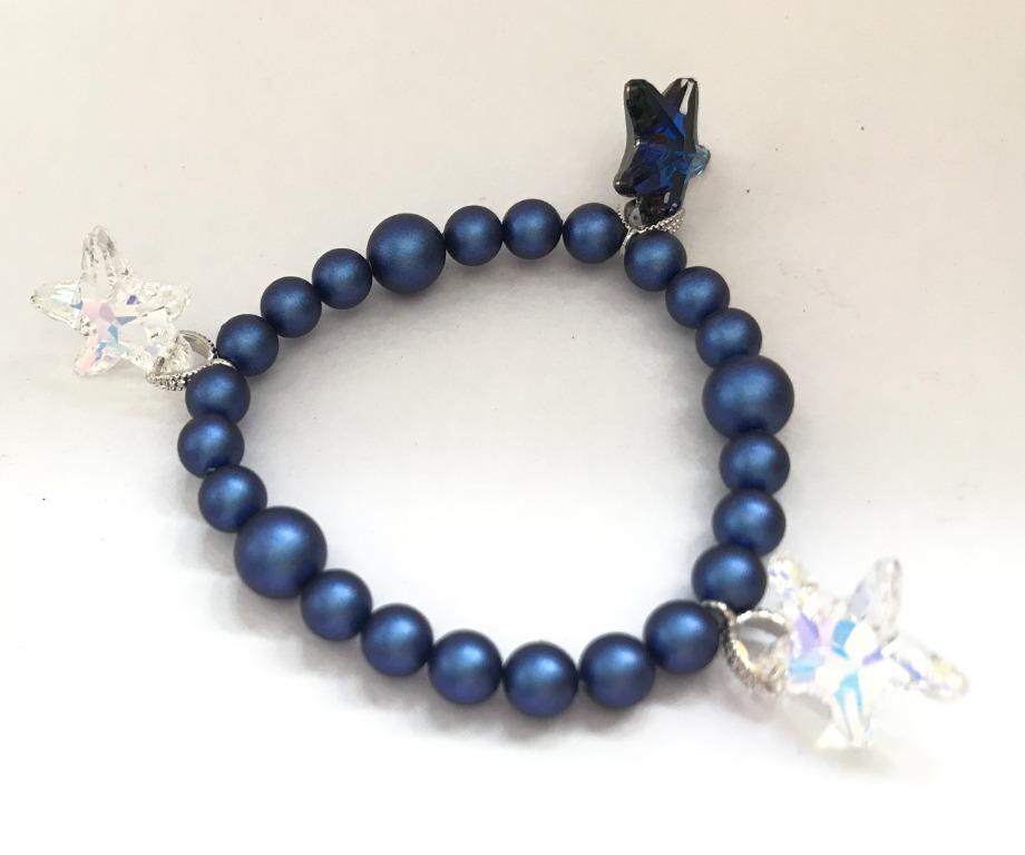 Bracelet- Blue Swarovski pearl + Swarovski star cyrstal