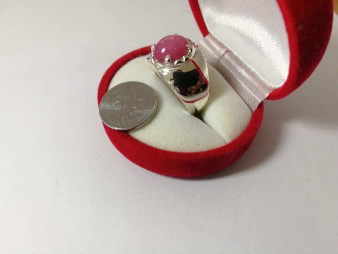 Cincin Perak Star Ruby / Delima Burma