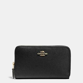 Coach Black Medium/ Long Zip around Wallet in Crossgrain Leather