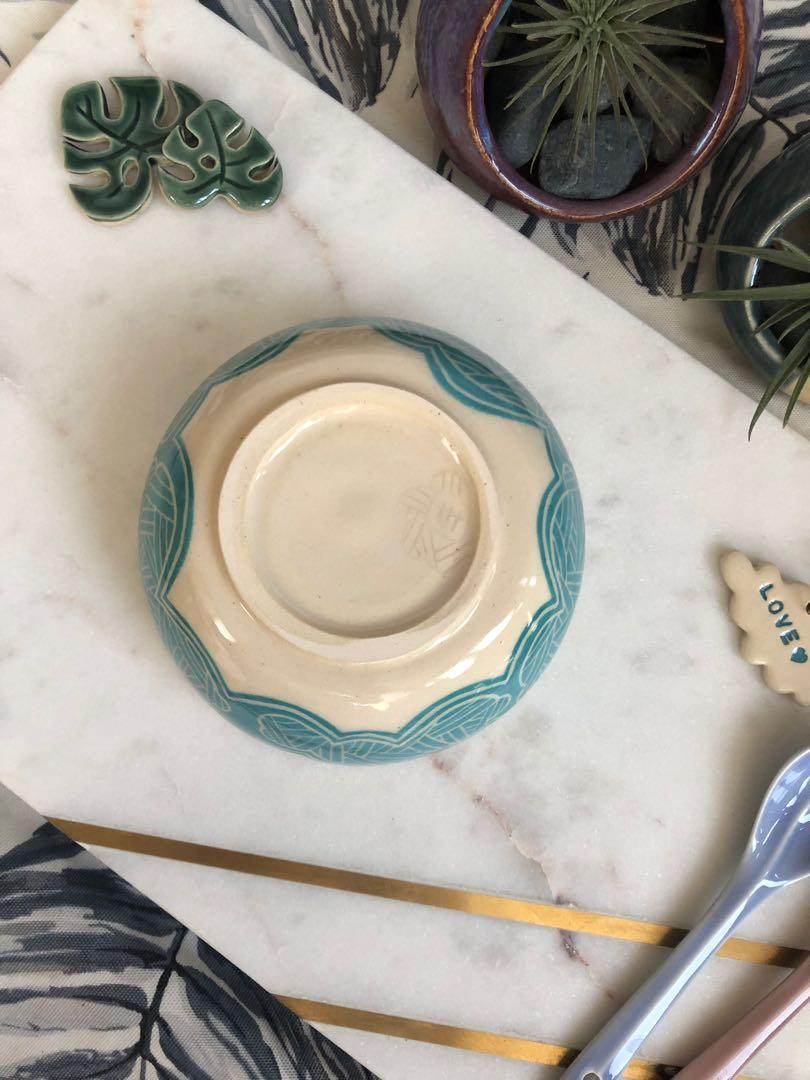 Handmade ceramic Bowl with linear cloud design - in turquoise blue