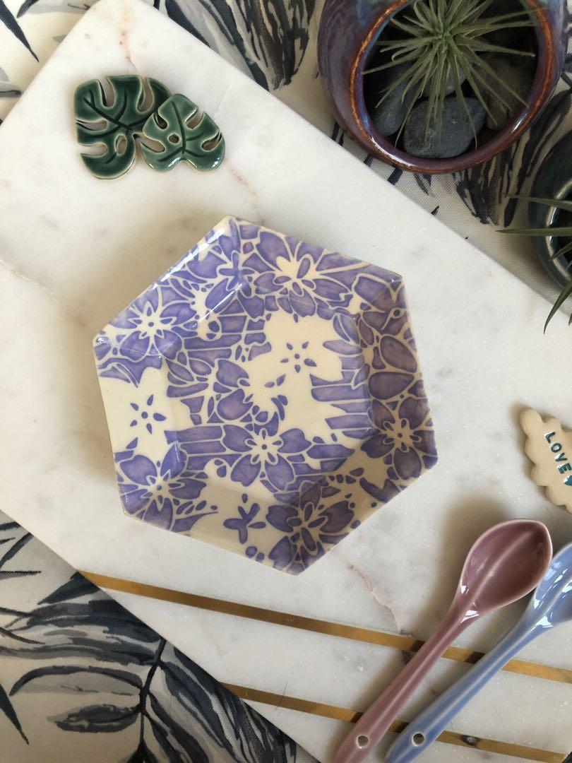 Handmade Ceramic Hexagon Dish (small), watercolour floral design in lavender
