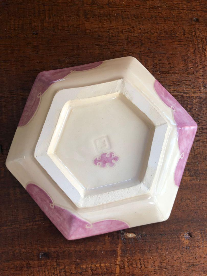 Handmade ceramic Hexagon Dish/plate (small), carved cloud and raindrop design in rose