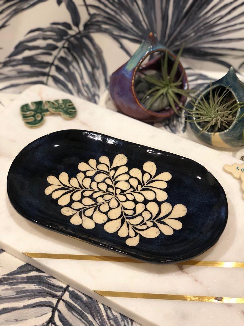Handmade Ceramic Oval Plate/platter (med), carved sgraffito drops design (blue black)