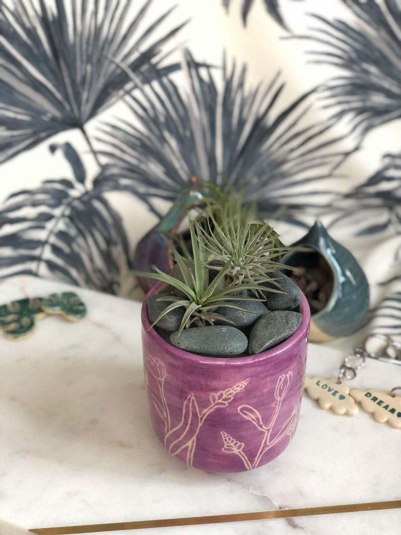 Handmade ceramic Planter with carved floral design, coloured in watercolour purple