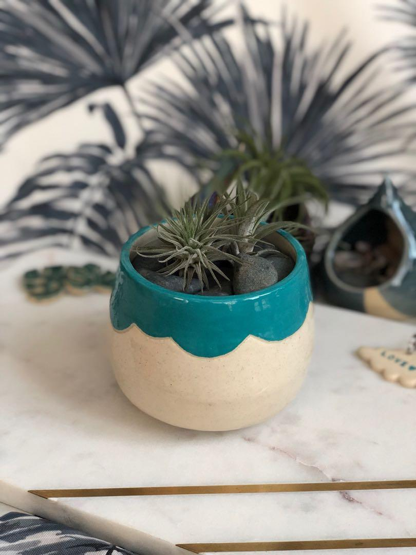 Handmade ceramic Planter with cloud rim, coloured in turquoise blue