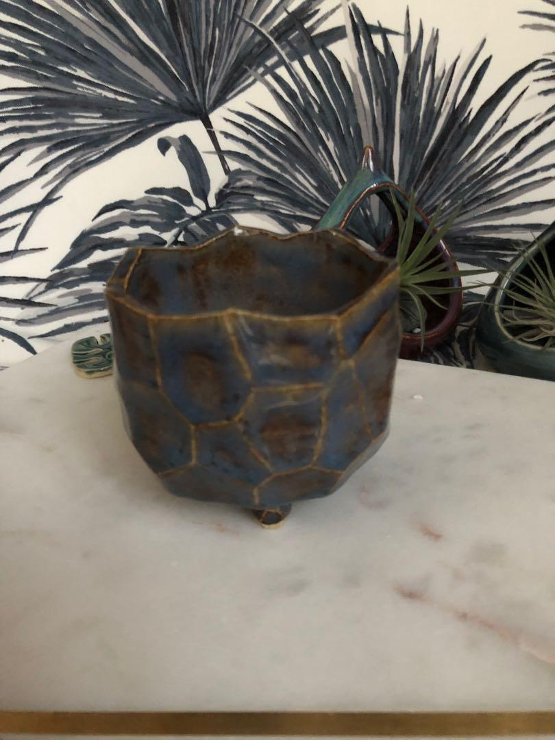 Handmade ceramic Planter with facets, coloured in blue and brown tones