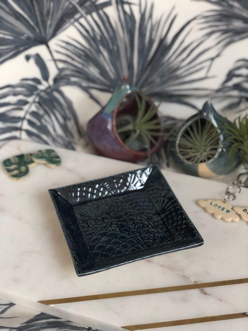 Handmade ceramic Square Dish (small), lace imprint design (storm blue)