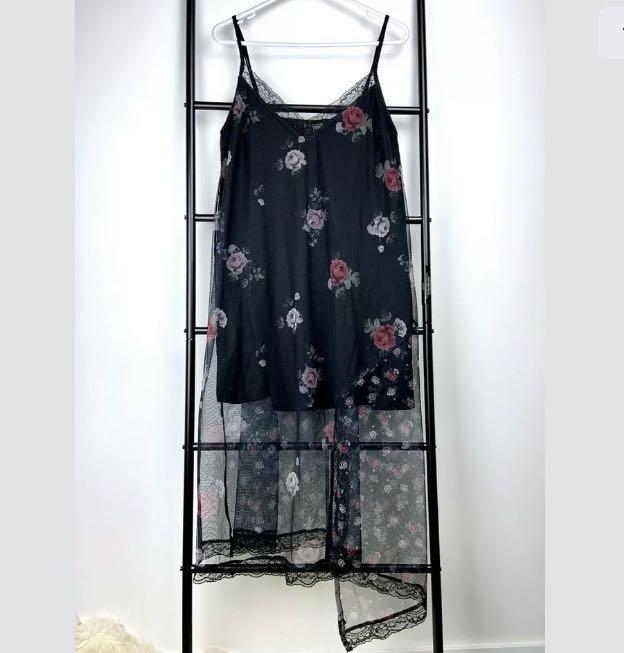 H&M sz M black floral sexy mesh lace slip dress rock gothic festival concert