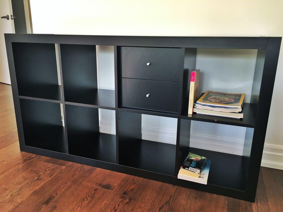Ikea shelf black w 2 drawers (can be placed vertically)